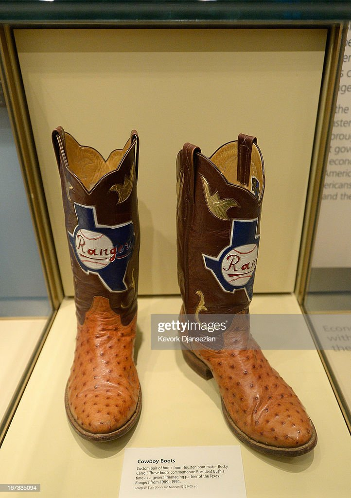 Boots commemorating George W. Bush's tenure as general managing partner of the Texas Rangers baseball team are displayed at the George W. Bush Presidential Center on the campus of Southern Methodist University on April 24, 2013 in Dallas, Texas. Dedication of the George W. Bush Presidential Library is to take place on April 25 with all five living U.S. Presidents in attendance and an expected 8,000 invitation-only guests.