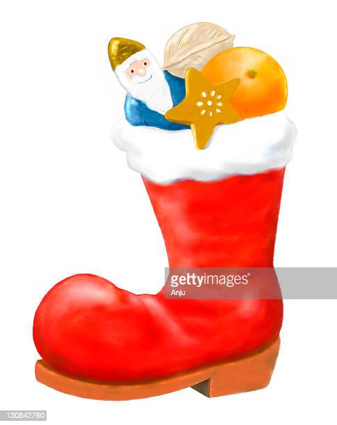 Boots filled with sweets on Santa Claus day, 6. December