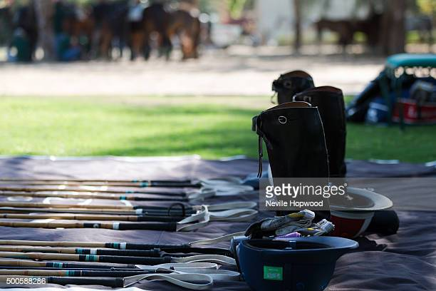 Boots helmets and polo mallets are laid out awaiting the polo players Second day of Cartier International Dubai Polo Challenge 11th edition at Desert...