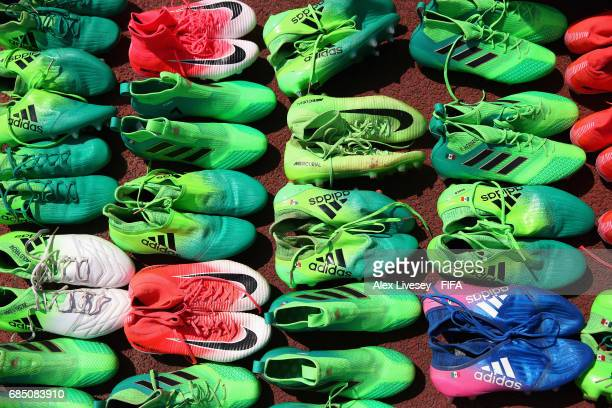 Boots of the Mexico squad are seen during a training session at the Hanbat Sports Complex ahead of the FIFA U20 World Cup on May 19 2017 in Daejeon...