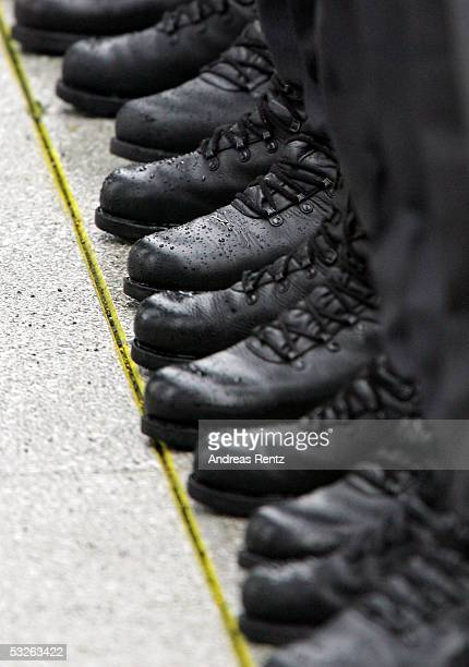 Boots of the recruits of the German armed forces Bundeswehr are seen during a swearing in ceremony at the courtyard of the Bendler Block the former...