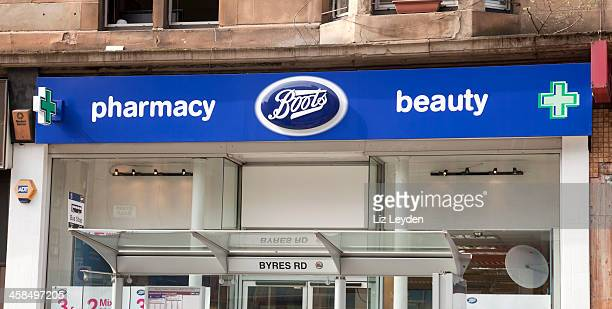 Boots pharmacy sign above the Byres Road Glasgow shop