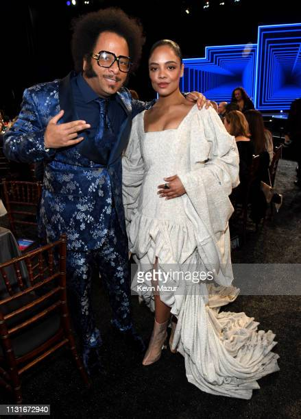 Boots Riley and Tessa Thompson during the 2019 Film Independent Spirit Awards on February 23 2019 in Santa Monica California