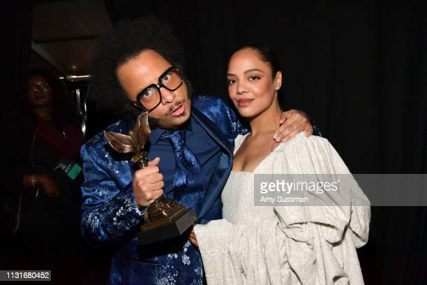 Boots Riley and Tessa Thompson winners of Best First Feature for 'Sorry to Bother You' pose during the 2019 Film Independent Spirit Awards on...