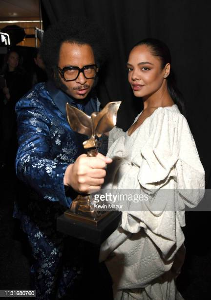 Boots Riley and Tessa Thompson winners of Best First Feature for 'Sorry to Bother You' during the 2019 Film Independent Spirit Awards on February 23...