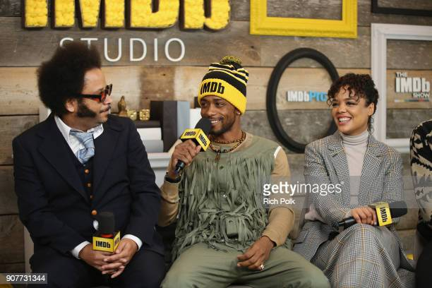 Boots Riley Lakeith Stanfield and Tessa Thompson of 'Sorry To Bother You' attend The IMDb Studio and The IMDb Show on Location at The Sundance Film...