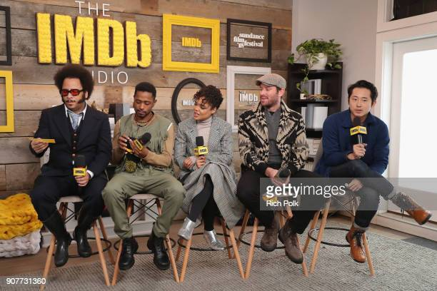 Boots Riley Lakeith Stanfield Tessa Thompson Armie Hammer and Steven Yeun of 'Sorry To Bother You' attend The IMDb Studio and The IMDb Show on...