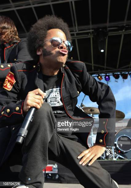 Boots Riley of the Street Sweeper Social Club performs during the 7th Annual Rock The Bells festival on Governors Island on August 28 2010 in New...