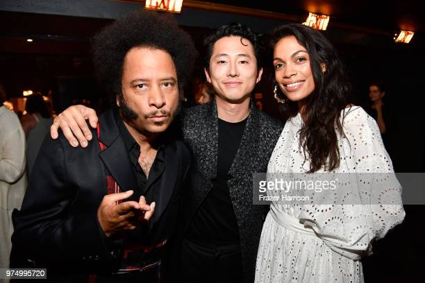 Boots Riley Steven Yeun and Rosario Dawson attend the Sundance Institute at Sundown Summer Benefit at the Ace Hotel on June 14 2018 in Los Angeles...