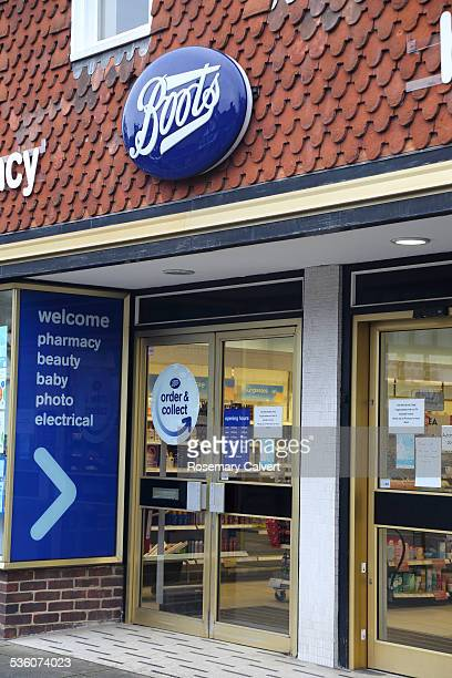 Boots sign and shop front Haslemere High Street Haslemere Surrey Boots pharmacy is UK's leading pharmacyled health and beauty retailer with 2500...