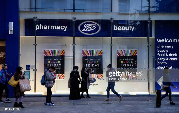 Boots store advertises sales ahead of the Black Friday sales on November 20, 2019 in London, England.