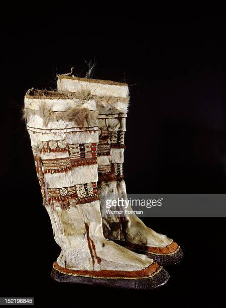 Boots which would have been worn by men on special occasions They are made from bearded sealskin bottoms and imported Siberian reindeer skin uppers...