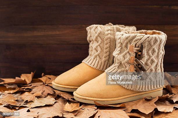 Boots with autumn leaves