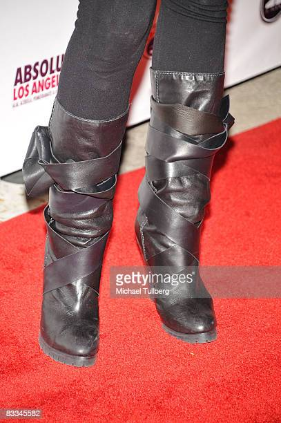 Boots worn by actress Audrina Partridge at the benefit grand opening of celebrity vehicle customization shop Galpin Auto Sports on October 18 2008 in...