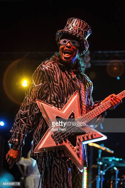 Bootsy Collins performs at the Bumbershoot Music and Arts Festival in August 31 2014 in Seattle Washington