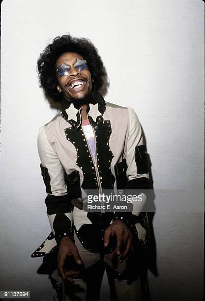 Bootsy Collins posed at South Street Seaport, New York in 1978