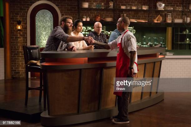 TOP CHEF 'Booty' Episode 1407 Pictured Padma Lakshmi Tom Colicchio Jamie Lynch