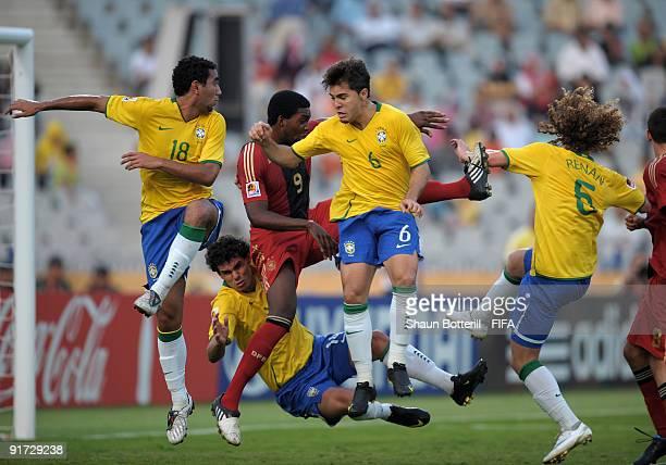 Boquita Diogo Renan and Fabricio challenge Richard SukutaPasu of Germany during the FIFA U20 World Cup Quarter Final match between Brazil and Germany...