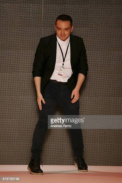 Bora Aksu attends his runway show during the Mercedes-Benz Fashion Week Istanbul Autumn/Winter 2016 at Zorlu Center on March 15, 2016 in Istanbul,...