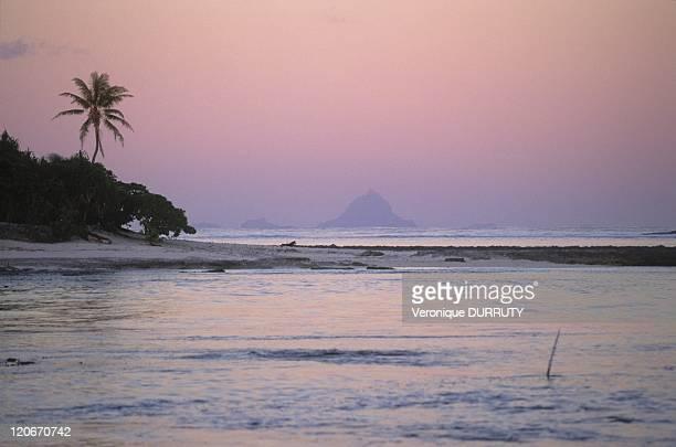 Bora Bora island viewed from Motu Pitiahe near Society archipelago in Maupiti French Polynesia Restriction use by travel agencies forbidden