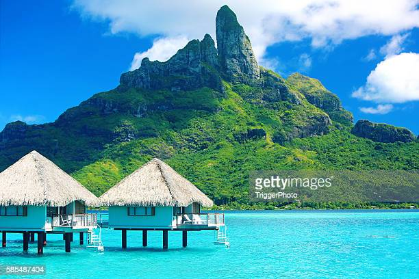bora bora tahiti mt otemanu - idyllic stock pictures, royalty-free photos & images