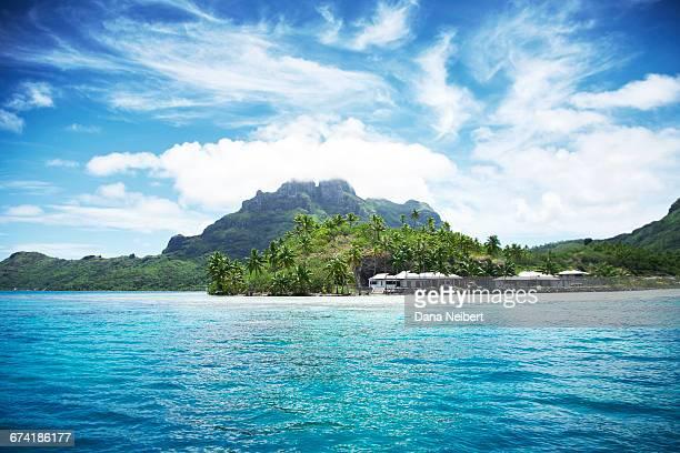 Bora Bora volcano and lagoon.