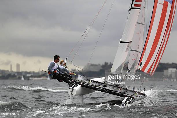 Bora Gulari of the United States and Louisa Chafee of the United States compete in the Nacra 17 Mixed class on Day 5 of the Rio 2016 Olympic Games at...