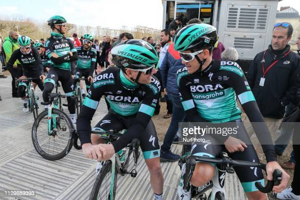 Bora Hansgrohe cycling team waits for the team's presentation at the start of the 1385km 1st stage of the 77th ParisNice cycling race between...