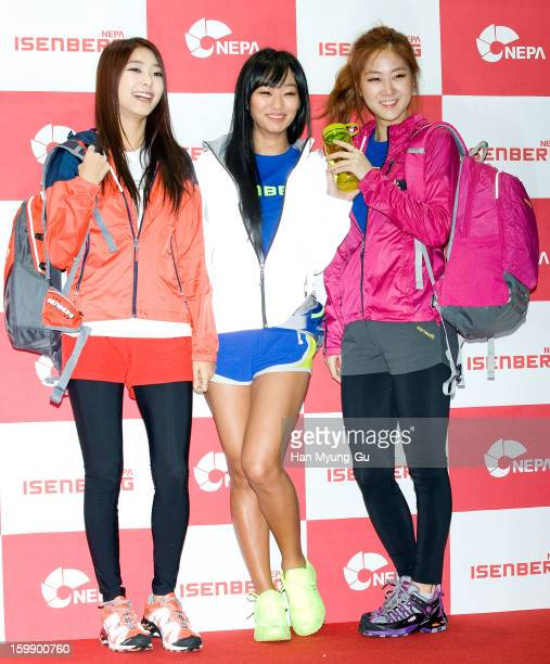Bora, Hyorin and Soyou of South Korean girl group SISTAR attend a promotional event for the NEPA History Show 2013 'ISENBERG' Launching Show at COEX...
