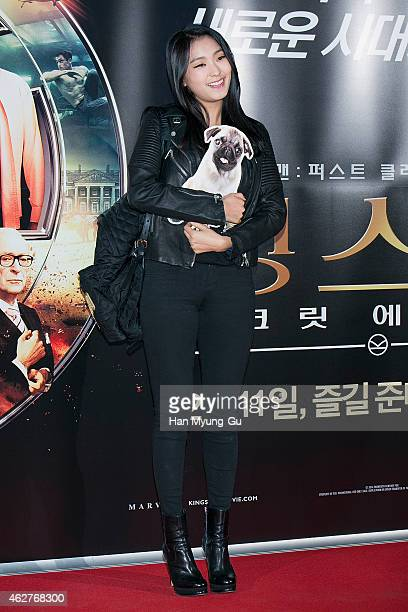 """Bora of South Korean girl group SISTAR attends the photo call for the South Korean premiere of """"Kingsman - The Secret Service"""" at COEX Mega Box on..."""