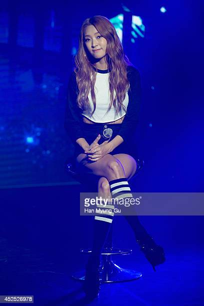 Bora of South Korean girl group SISTAR performs onstage during their new album 'Touch and Move' showcase at Ilchi Art Hall on July 21, 2014 in Seoul,...