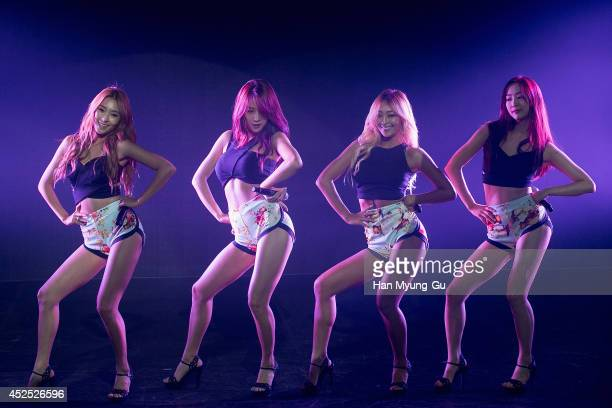 Bora, Soyou, Hyolyn and Dasom of South Korean girl group SISTAR perform onstage during their new album 'Touch and Move' showcase at Ilchi Art Hall on...