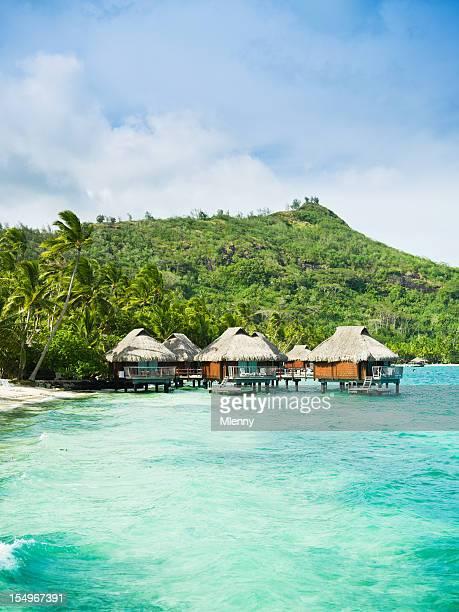 bora-bora sonho de férias de luxo hotel resort casa sobre estacas - bora bora imagens e fotografias de stock