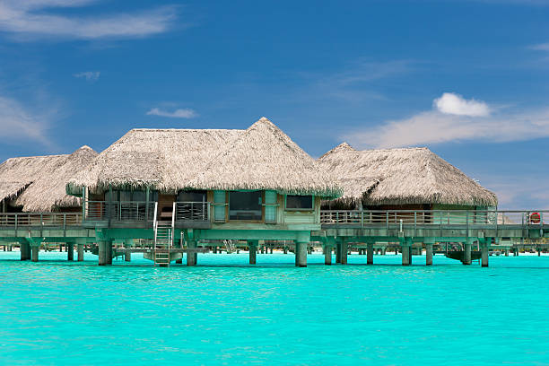 Bora-Bora Island Tourist Resort Stilt Huts