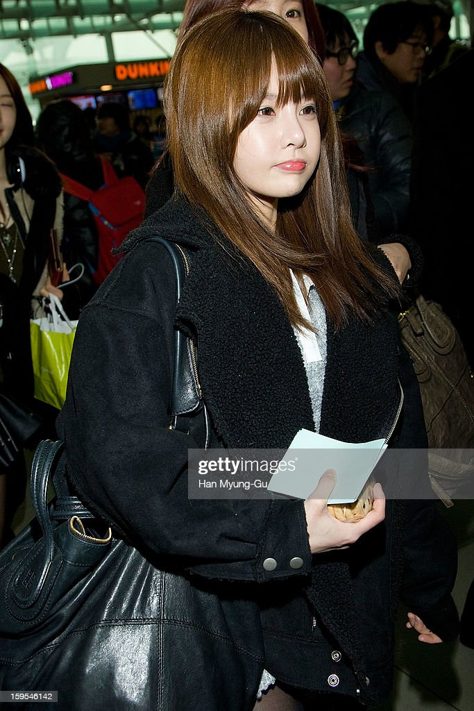 Boram of South Korean girl group T-ara is seen at Incheon International Airport on January 15, 2013 in Incheon, South Korea.