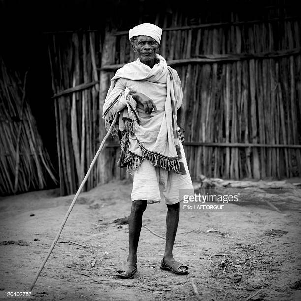 Borana man in Ethiopia on October 21, 2008 - El Dima Buchata Borana village. Borana are Omoro people. Men can have up to 5 wives. The husband has 3...