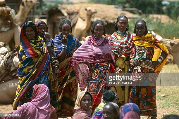 Borana women in traditional dress on market day Eliwaya Yabelo Ethiopia