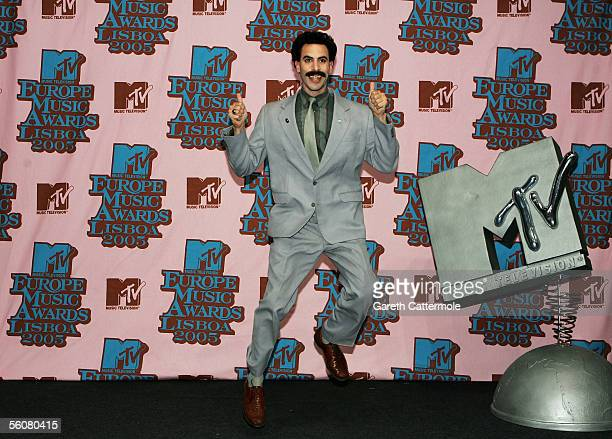 Borat from Da Ali G. Show poses in the Awards Room at the 12th annual MTV Europe Music Awards 2005 at the Atlantic Pavilion on November 3, 2005 in...