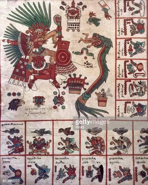 Borbonic Codex or Borgia Codex Precolumbian Period Aztecs Deity Quetzalcoatl Feathered serpent Detail of the god TezCalipoca and god Quetzalcoatl...