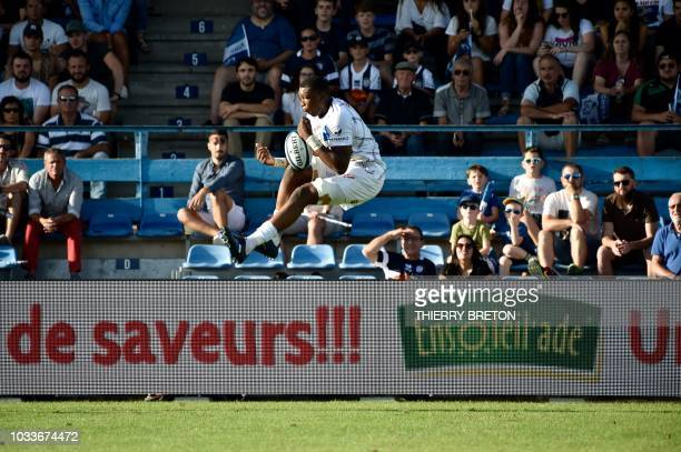 Bordeaux Begles' Afa Amosa catches the ball during the French Top 14 rugby union match between SU Agen and Union Bordeaux Begles on September 15 2018...