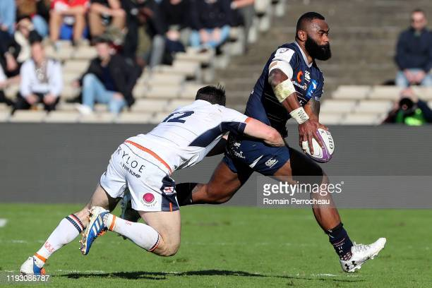 Bordeaux Begles' Fidjian outside centre Semi Radradra in action during the European Rugby Challenge Cup Round 5 match between Bordeaux Begles and...