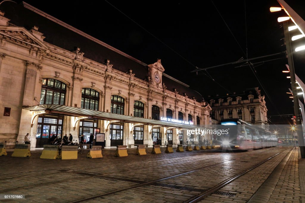 Bordeaux-Saint-Jean railway station at night. The building is classified as a French National Historic Landmark ('Monument Historique').