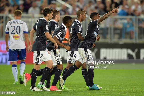 Bordeaux' Brazilian forward Malcom celebrates after scoring a goal during the French Ligue 1 football match between Bordeaux and Bastia on April 22...
