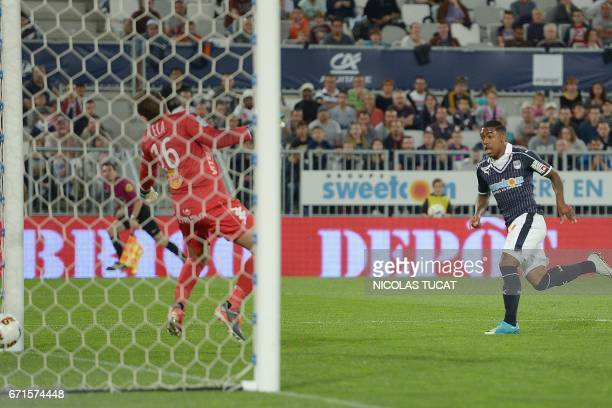 Bordeaux' Brazilian forward Malcom scores a goal during the French Ligue 1 football match between Bordeaux and Bastia on April 22 2017 at the Matmut...