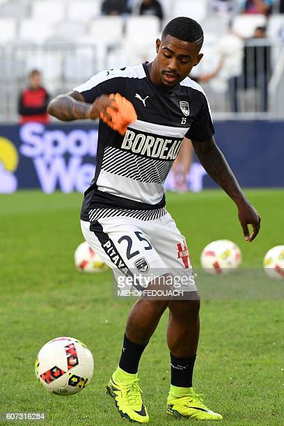 Bordeaux' Brazilian forward Malcom warms up before the French L1 footbal match Bordeaux vs Angers on September 17 2016 at the Matmut Stadium in...