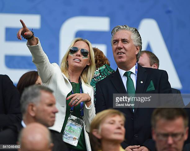 Bordeaux France 18 June 2016 FAI Chief Executive John Delaney with Emma English before the start of the game in the UEFA Euro 2016 Group E match...