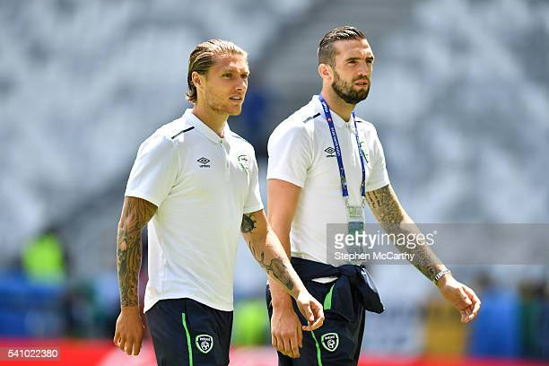 Bordeaux France 18 June 2016 Republic of Ireland players Jeff Hendrick and Shane Duffy walk the pitch ahead of the UEFA Euro 2016 Group E match...