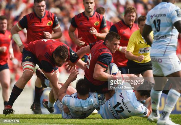 Bordeaux France 22 April 2018 CJ Stander of Munster supported by teammate Jean Kleyn is tackled by Camille Chat and Henry Chavancy of Racing 92...