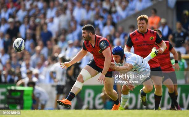 Bordeaux France 22 April 2018 Sam Arnold of Munster is tackled by Wenceslas Lauret of Racing 92 during the European Rugby Champions Cup semifinal...