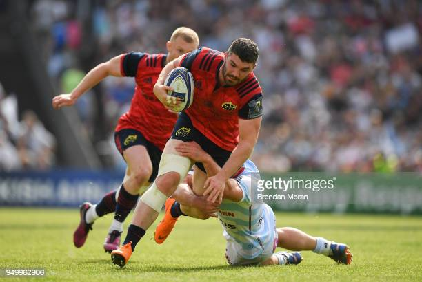 Bordeaux France 22 April 2018 Sam Arnold of Munster is tackled by Henry Chavancy of Racing 92 during the European Rugby Champions Cup semifinal match...